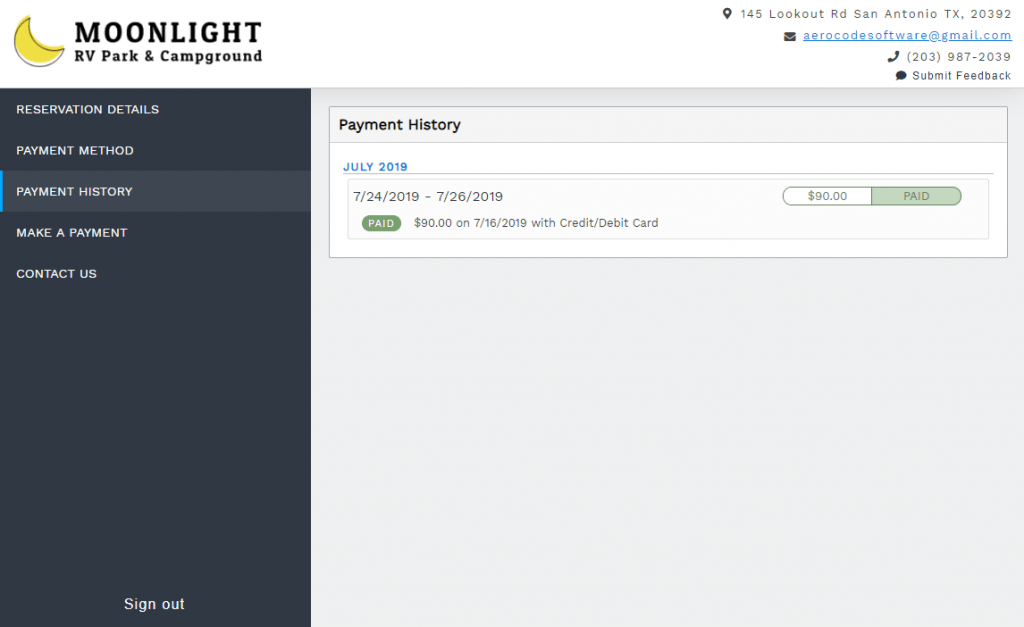 View payment history from the guest portal