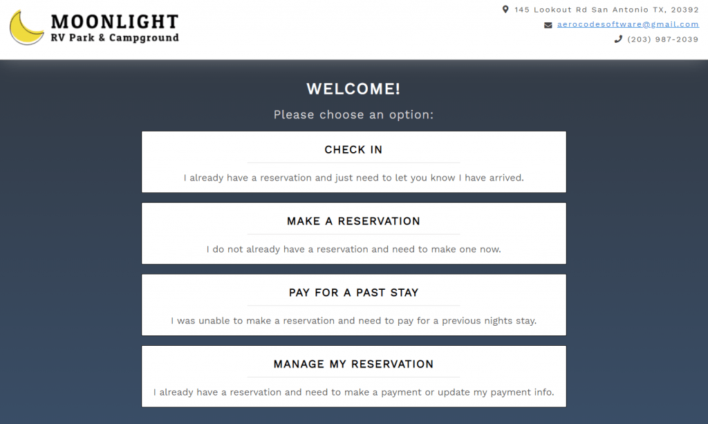 Firefly reservations kiosk options