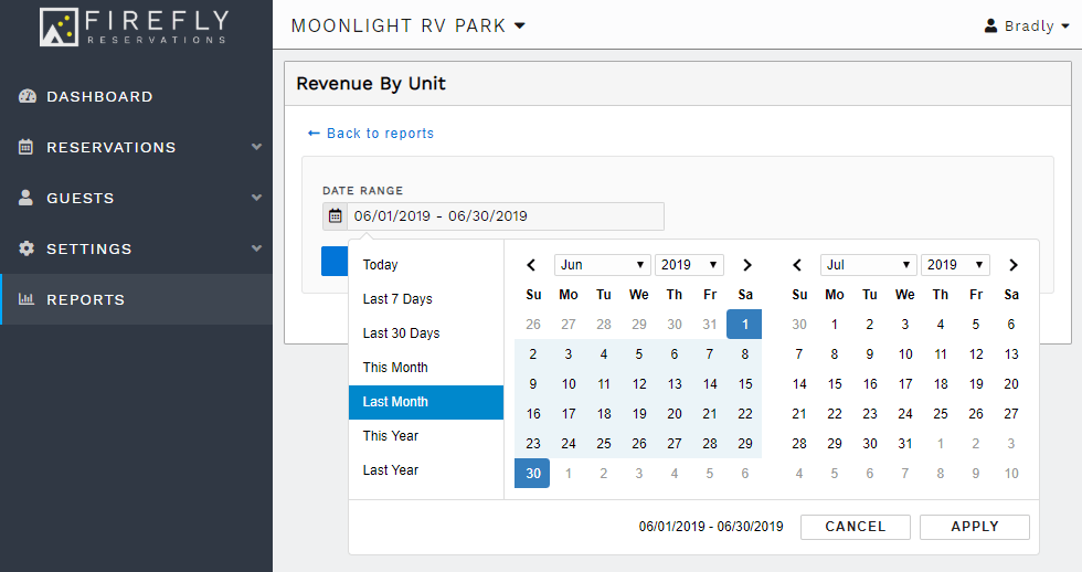Select a reports date range